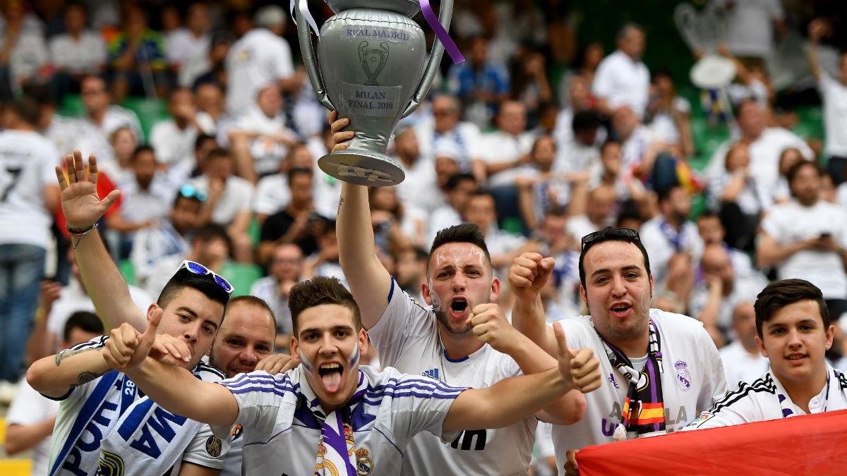 Aficionados del Real Madrid en Milán. (Getty)