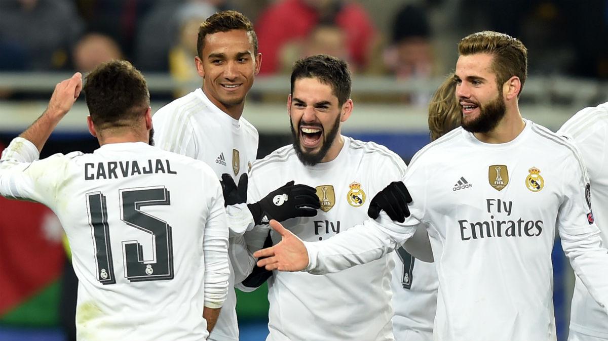 Nacho, Danilo, Carvajal e Isco celebran un gol. (AFP)