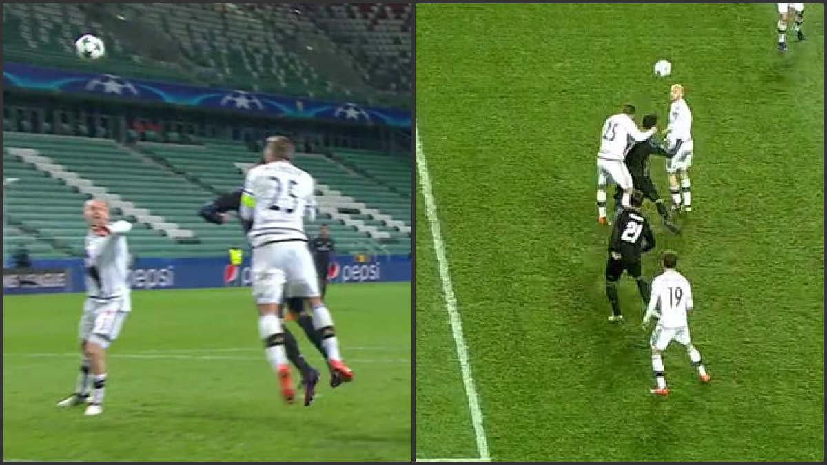 Cristiano reclamó penalti de Rzezniczak.