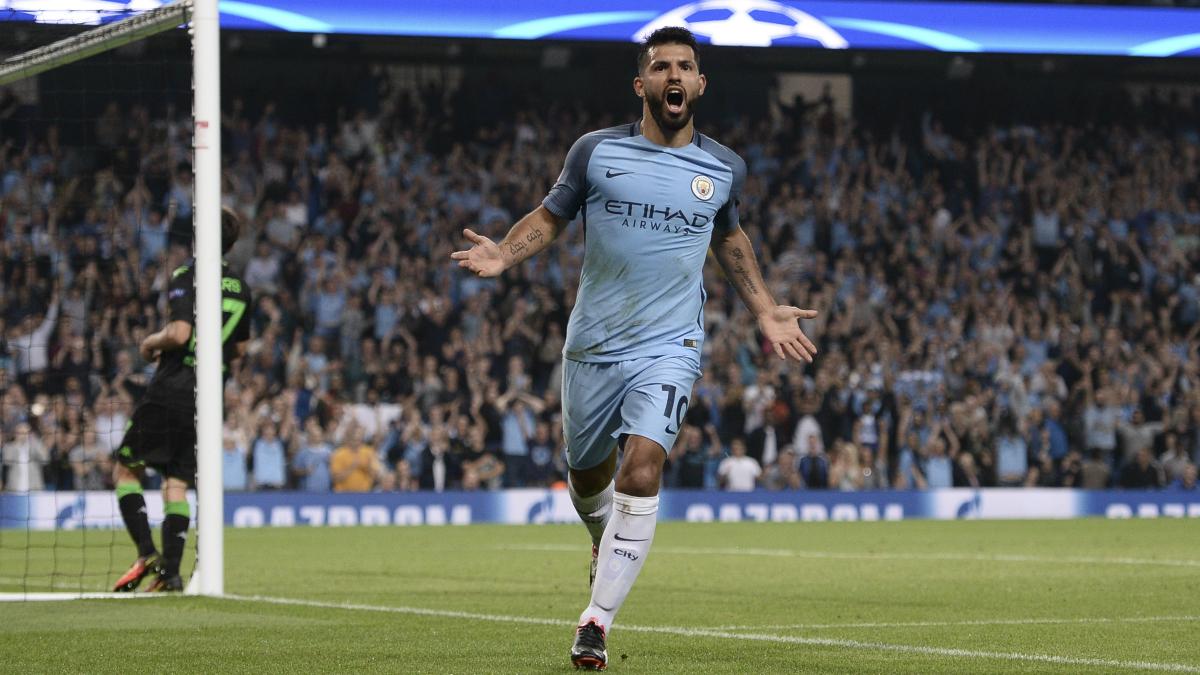 Agüero celebra un gol con el Manchester City. (AFP)