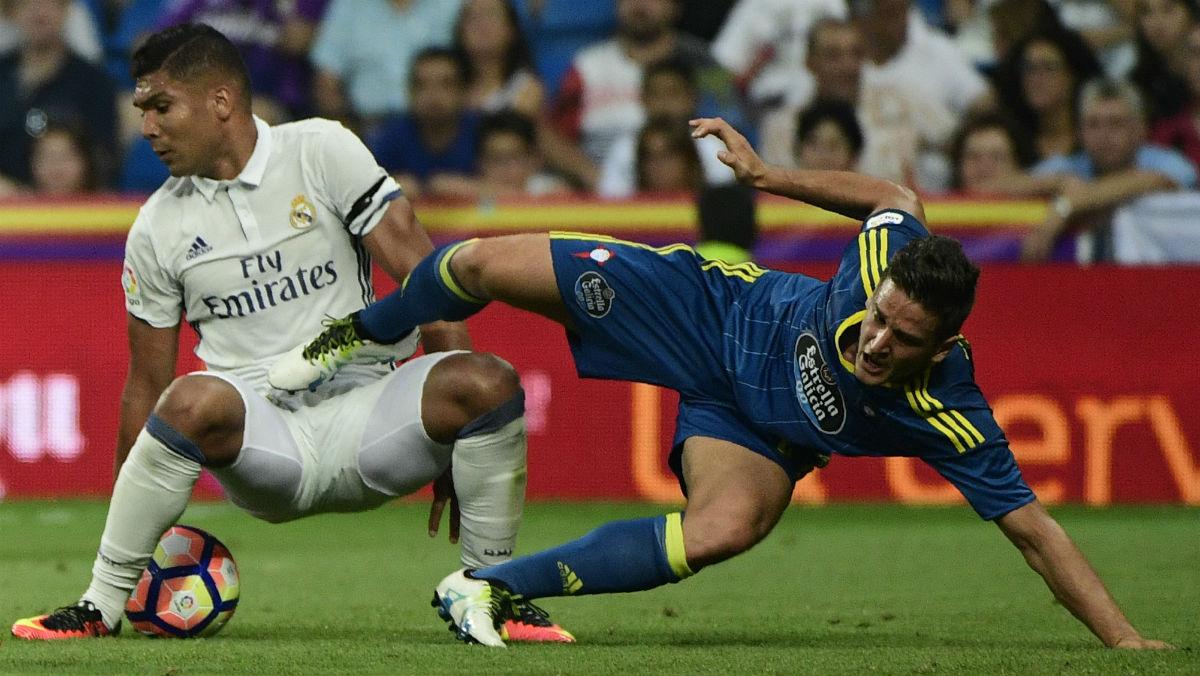Casemiro, en el partido ante el Celta. (AFP)