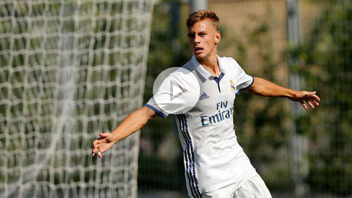 Dani Gómez celebra un gol con el Juvenil A. (Realmadrid.com)