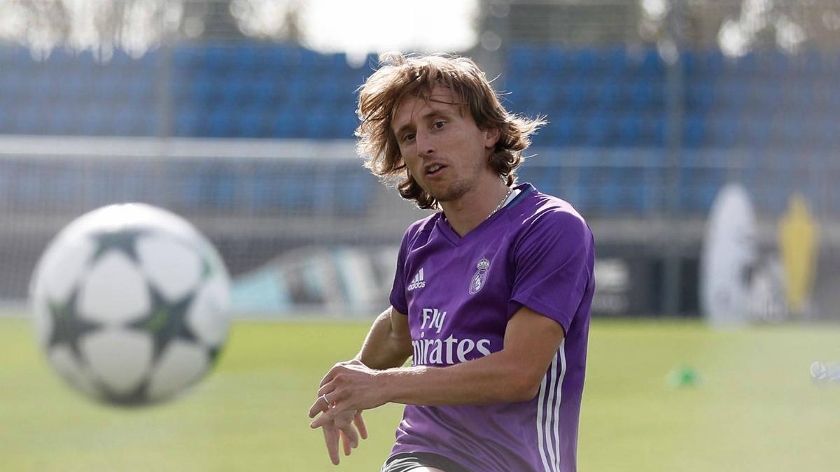 Modric, durante un entrenamiento con el Real Madrid.