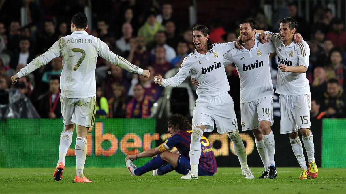 Cristiano Ronaldo celebra el gol que valió una Liga en el Camp Nou. (AFP)
