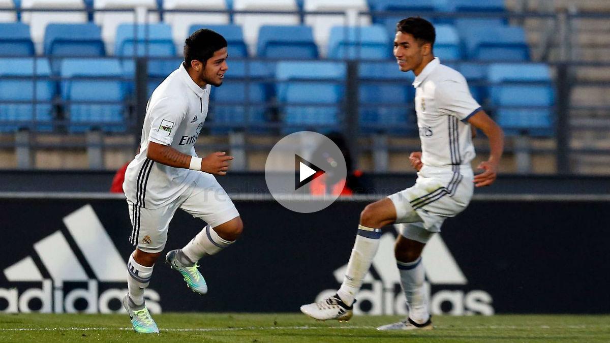 Sergio Díaz celebra su gol ante el Sestao. (Realmadrid.com)