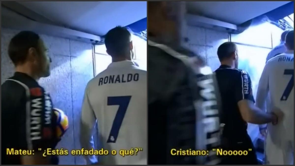 Mateu y Cristiano conversan en el túnel. (Pantallazo de Gol)