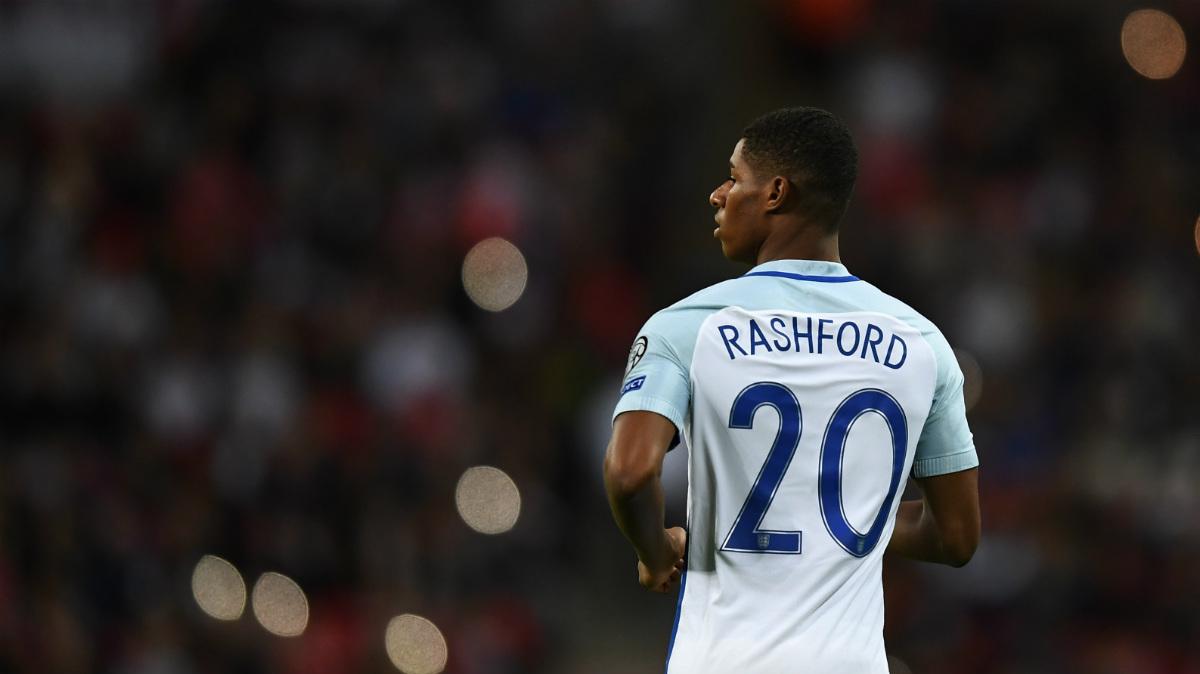 Rashford, en un partido con la selección inglesa. (Getty)
