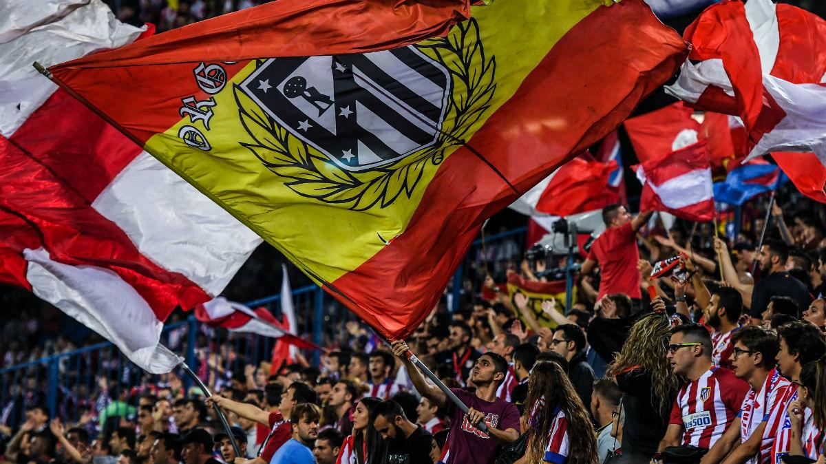 Afición del Atlético de Madrid en el Vicente Calderón. (Getty)
