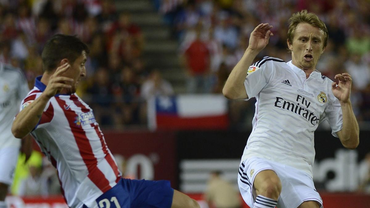 Modric y el Cebolla Rodríguez, durante la vuelta de la Supercopa de 2014.