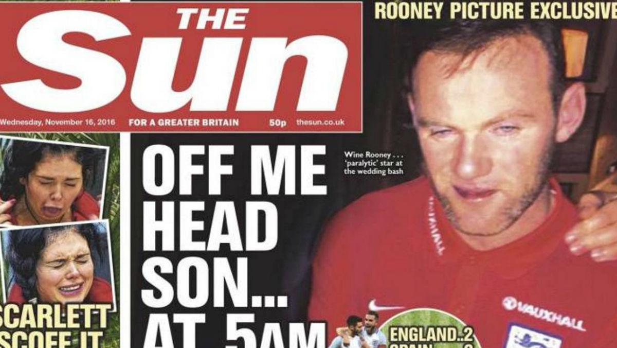 Rooney es protagonista en la portada de The Sun.