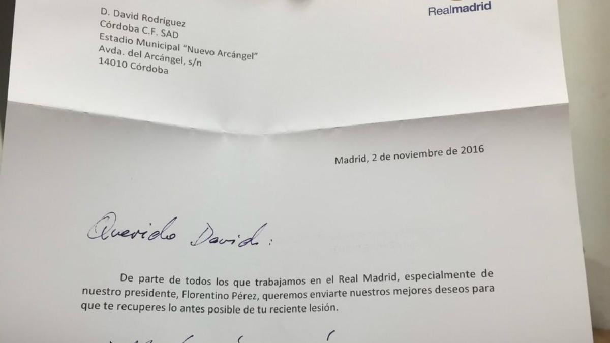 La carta enviada por el Real Madrid a Deivid.