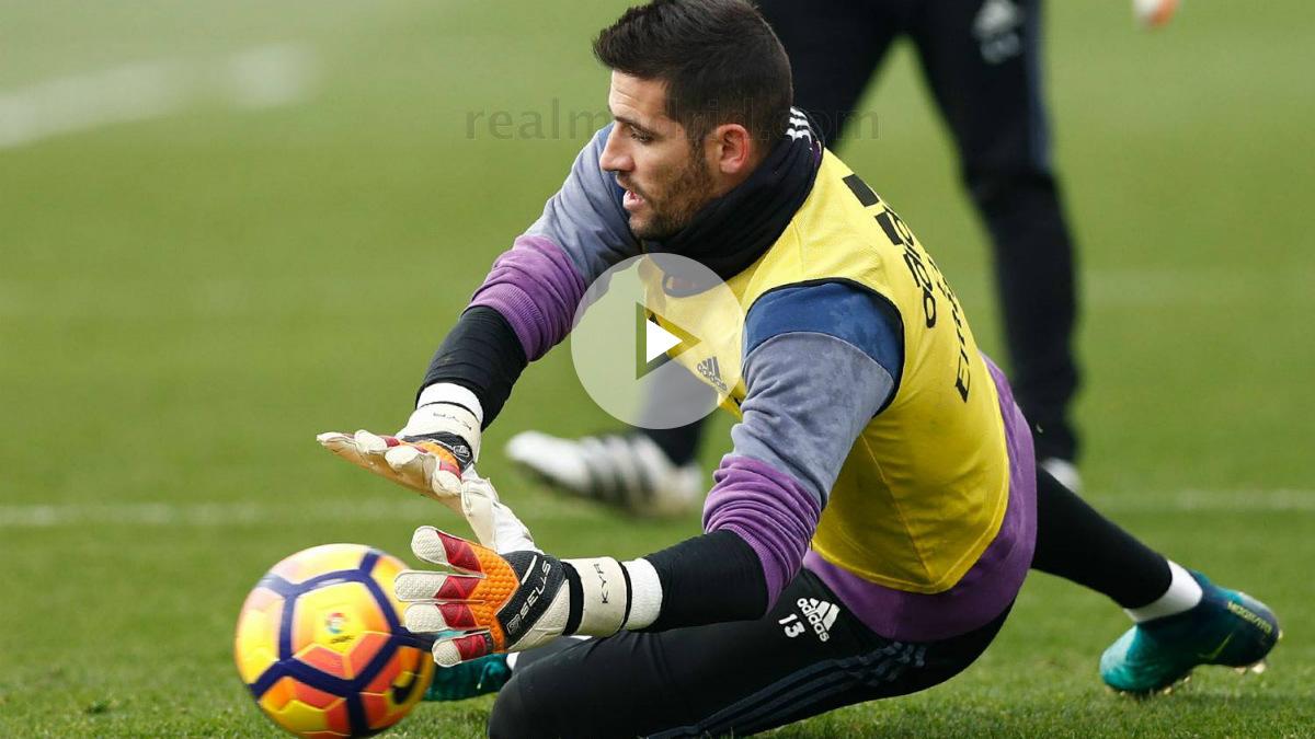 Kiko Casilla y Keylor se lucieron en el entrenamiento del Madrid. (realmadrid.com)