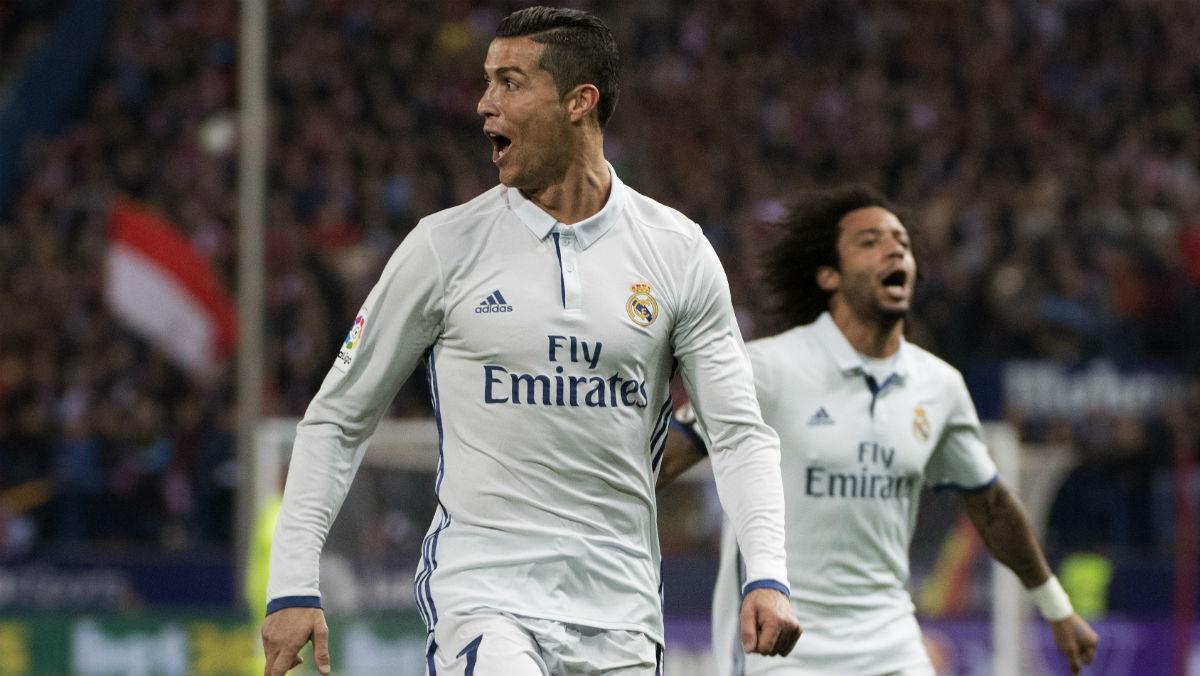 Cristiano celebra su primer gol de la noche. (AFP)