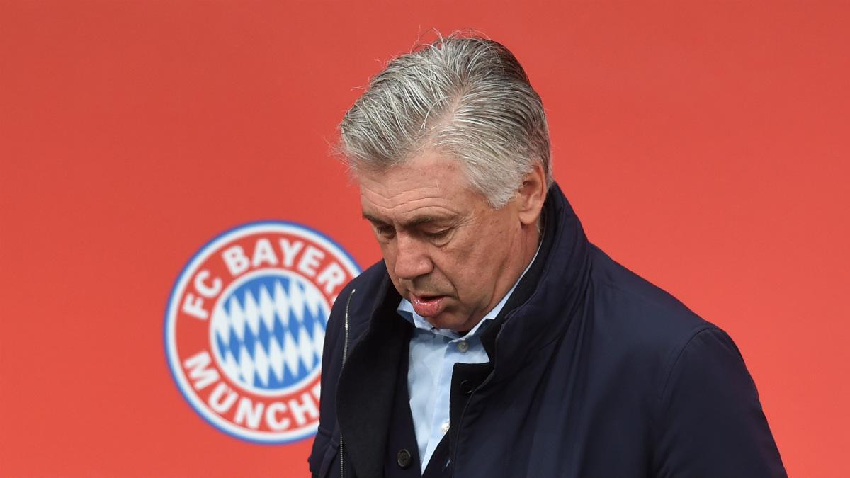 Ancelotti, durante la apertura de una tienda del Bayern. (AFP)