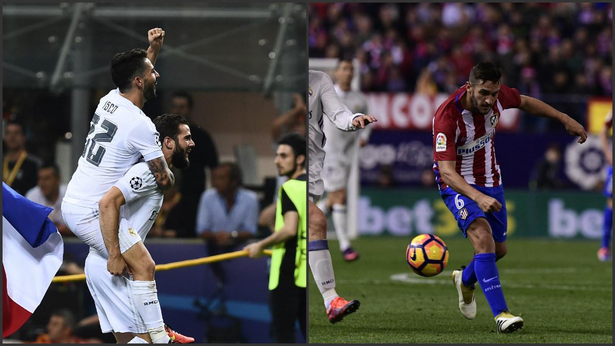 Isco y Nacho celebrando la Undécima a la izquierda de la imagen, a la derecha Koke superado en el Calderón.