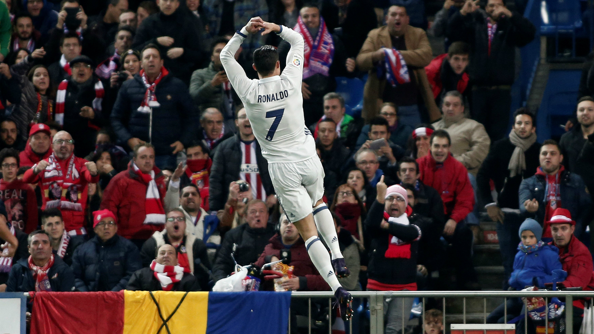 Cristiano celebra su primer gol frente al Atlético de Madrid. (Getty)