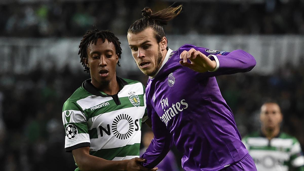 Gelson, peleando con Bale durante el Sporting de Lisboa Vs Real Madrid de Champions.