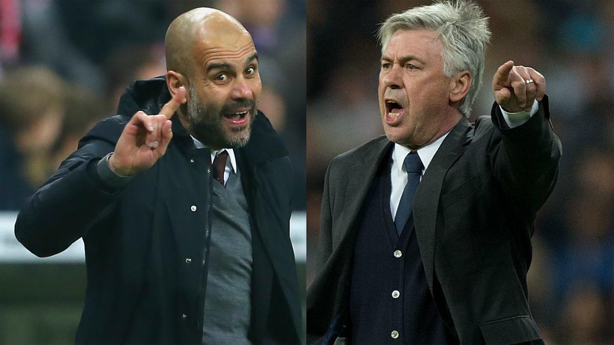 Guardiola y Ancelotti, dando órdenes.