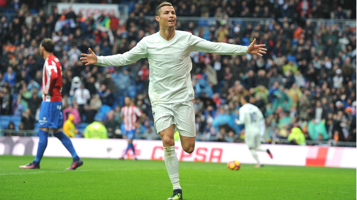 Cristiano Ronaldo celebra el 2-0 al Sporting. (Getty)
