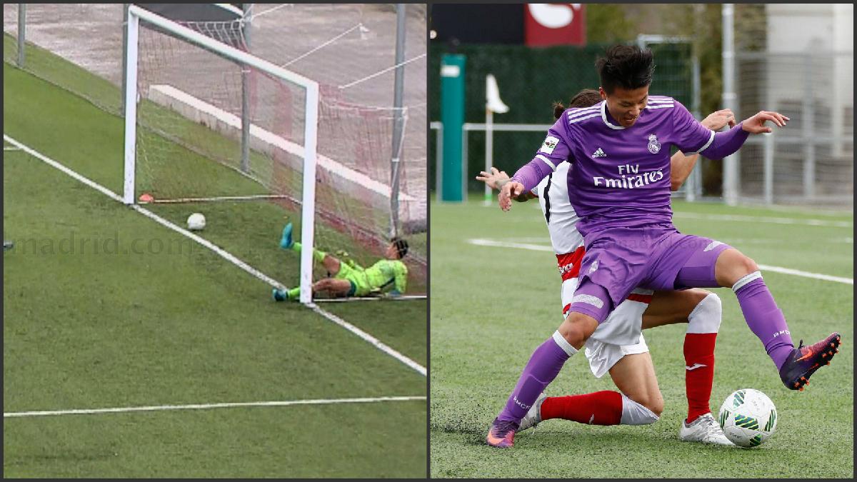A la izquierda el gol fantasma de Mario Hermoso y a la derecha el penalti sobre Lin.