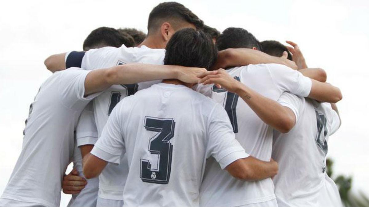 Los canteranos del Real Madrid celebran un gol. (Realmadrid.com)