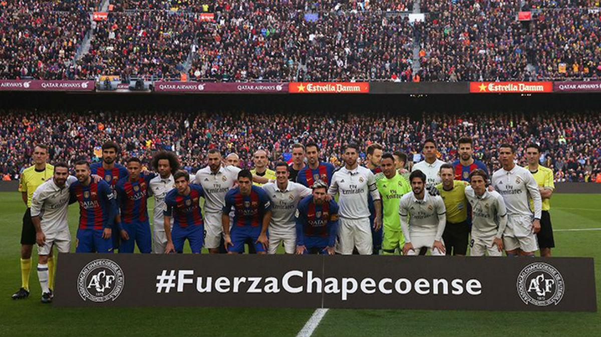 Barcelona y Real Madrid guardan un minuto de silencio por el Chapecoense. (Twitter)
