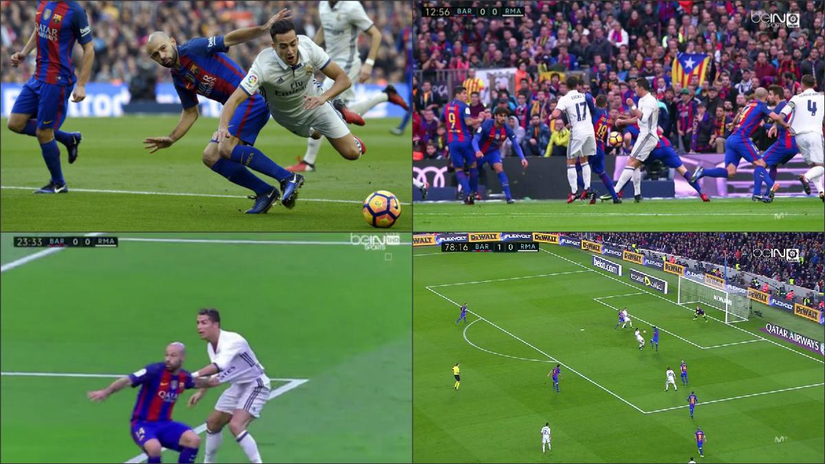 Los cuatro penaltis que pidió el Madrid y Clos Gómez no señaló.