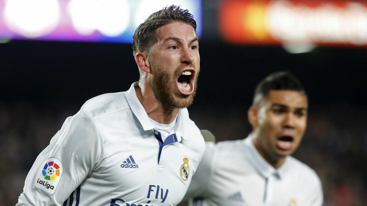 Sergio Ramos celebra su gol al Barcelona. (AFP)