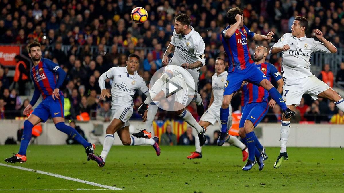 Momento en el que Sergio Ramos hace el gol al Barcelona. (Realmadrid.com)