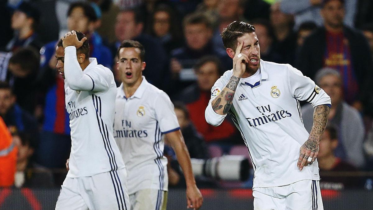 Sergio Ramos celebra su gol ante el Barcelona. (EFE)