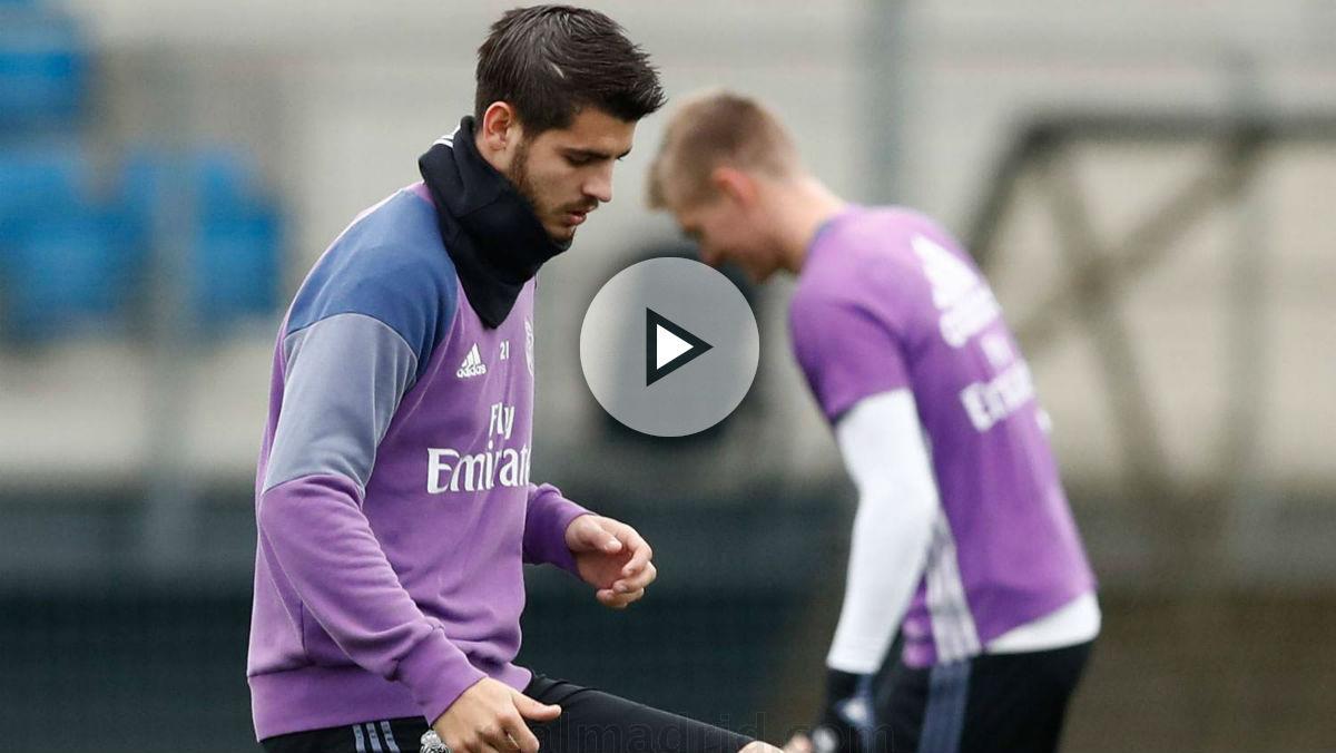 Álvaro Morata ya se entrena con normalidad. (Realmadrid.com)