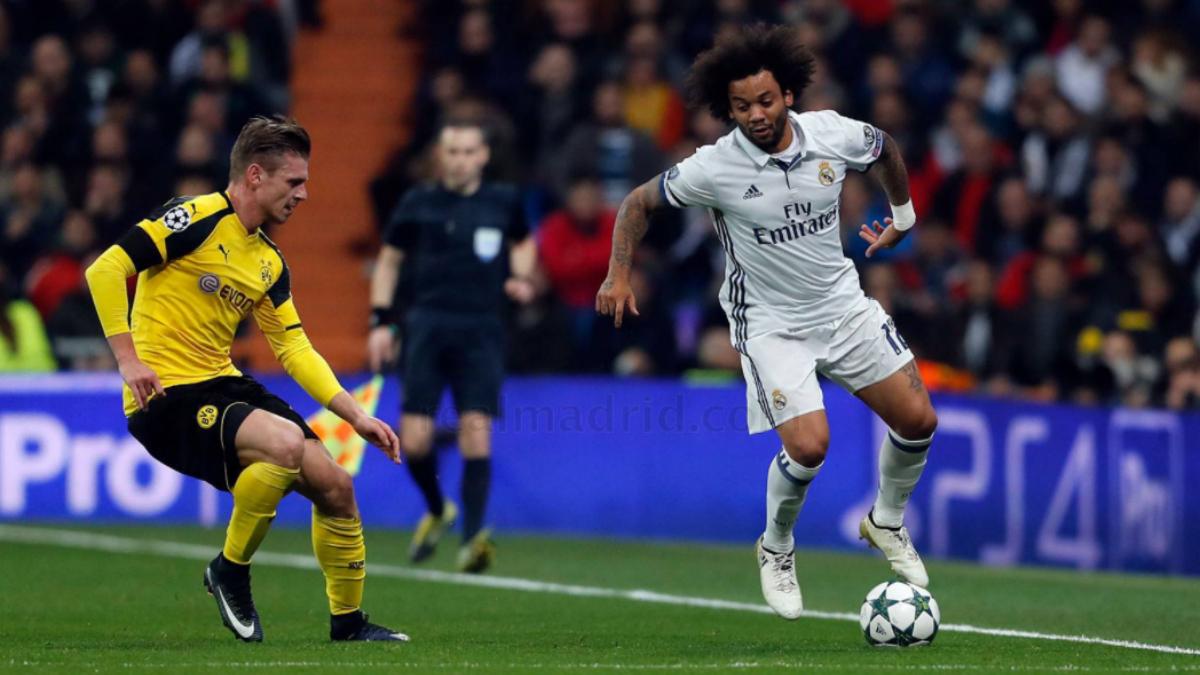 Marcelo, en una acción del encuentro frente al Dortmund. (realmadrid.com)