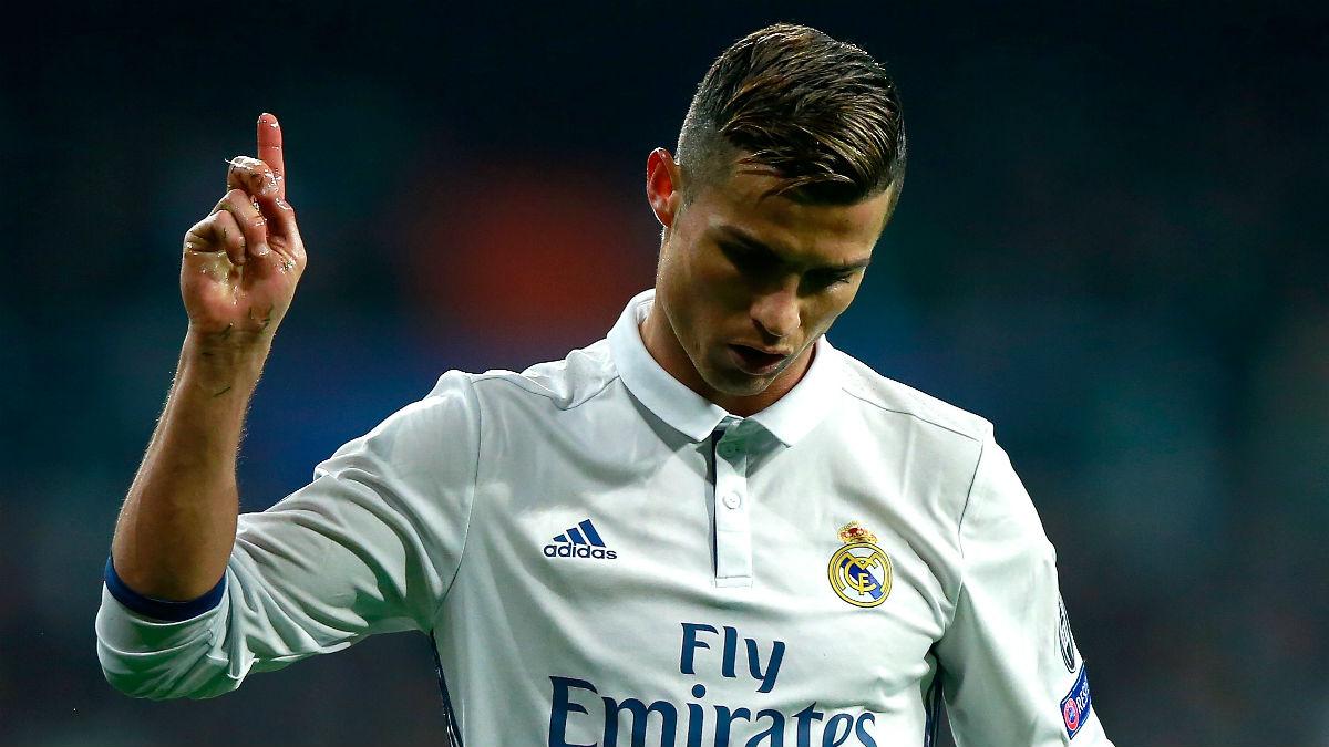 Cristiano Ronaldo hace un gesto en el partido contra el Dortmund. (Getty)
