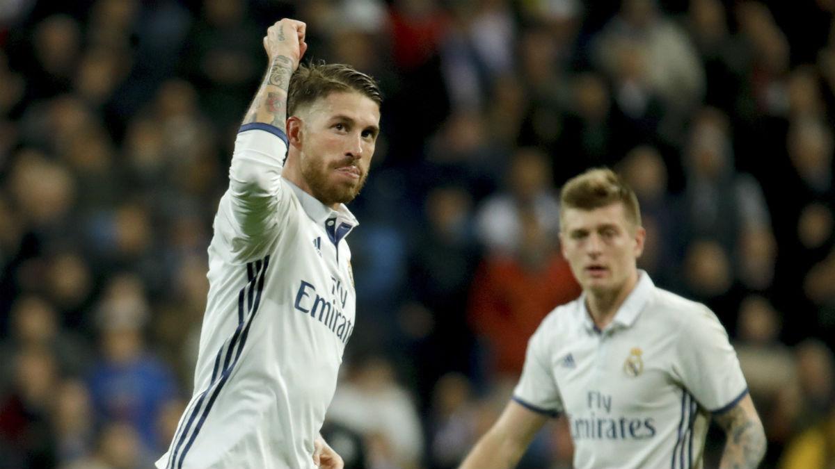 Sergio Ramos celebra su gol al Deportivo. (EFE)