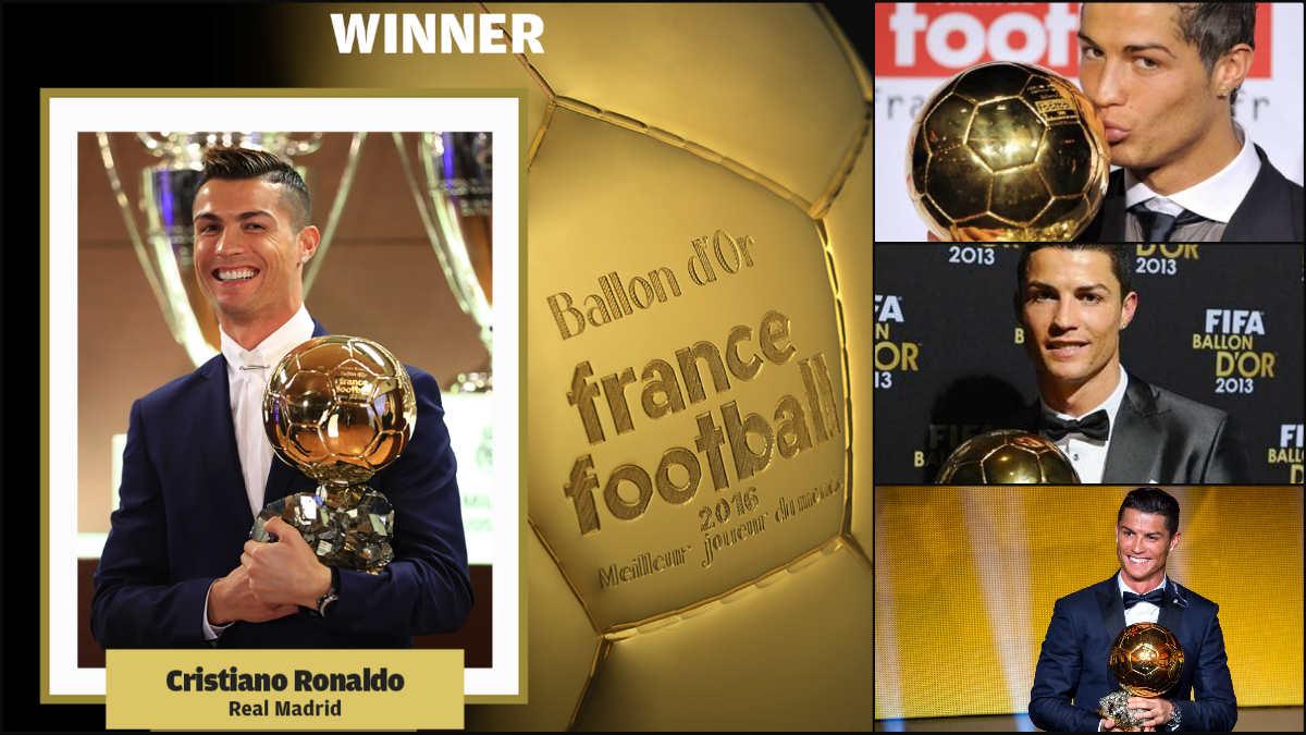 Los cuatro Balones de Oro de Cristiano Ronaldo.