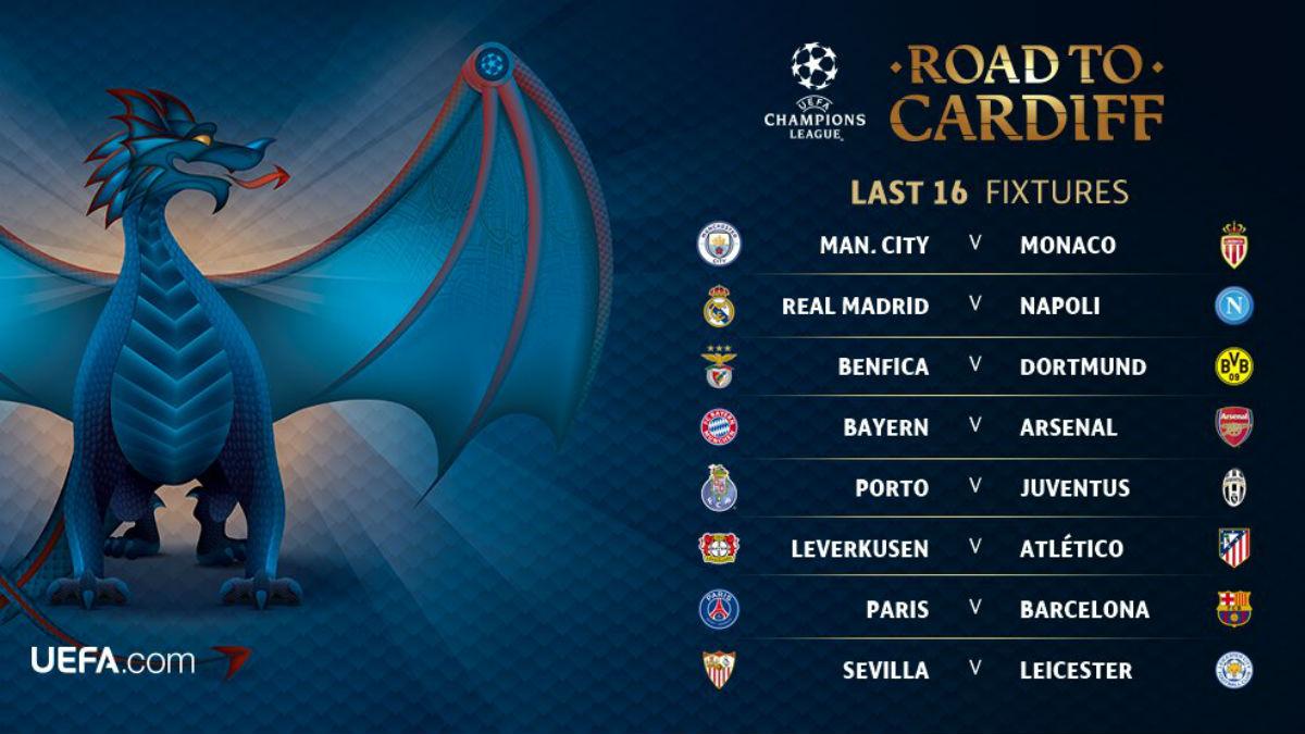 Así quedan los cruces de octavos de la Champions League.