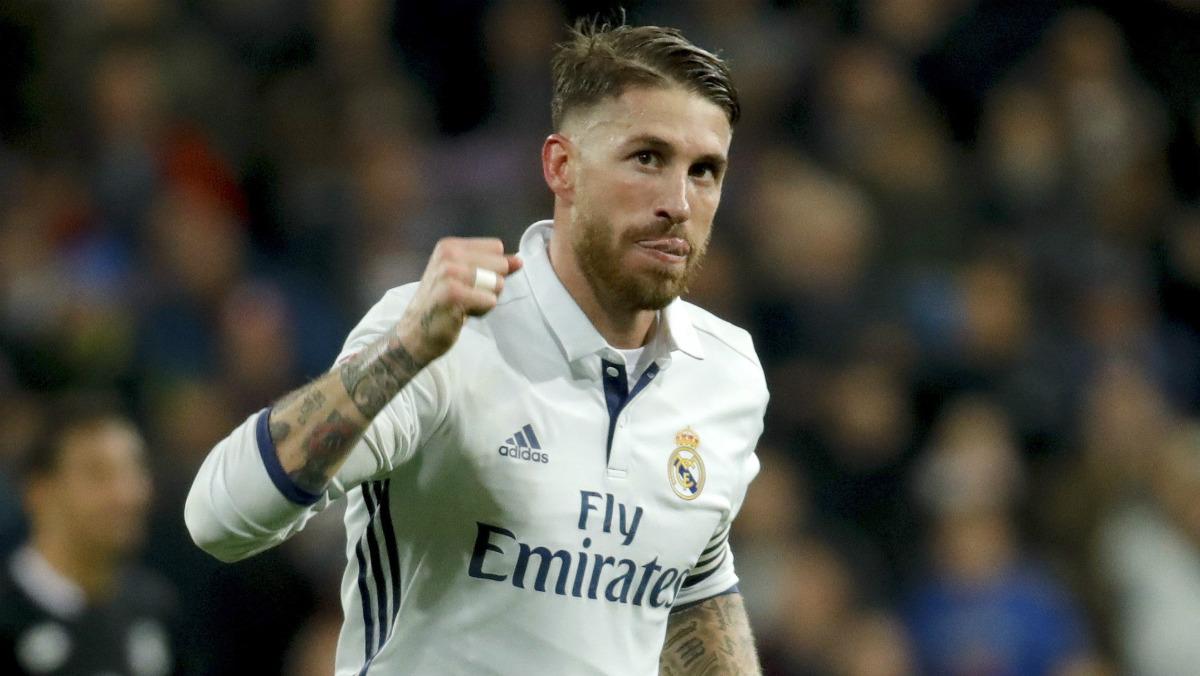 Sergio Ramos celebra su gol ante el Deportivo. (EFE)