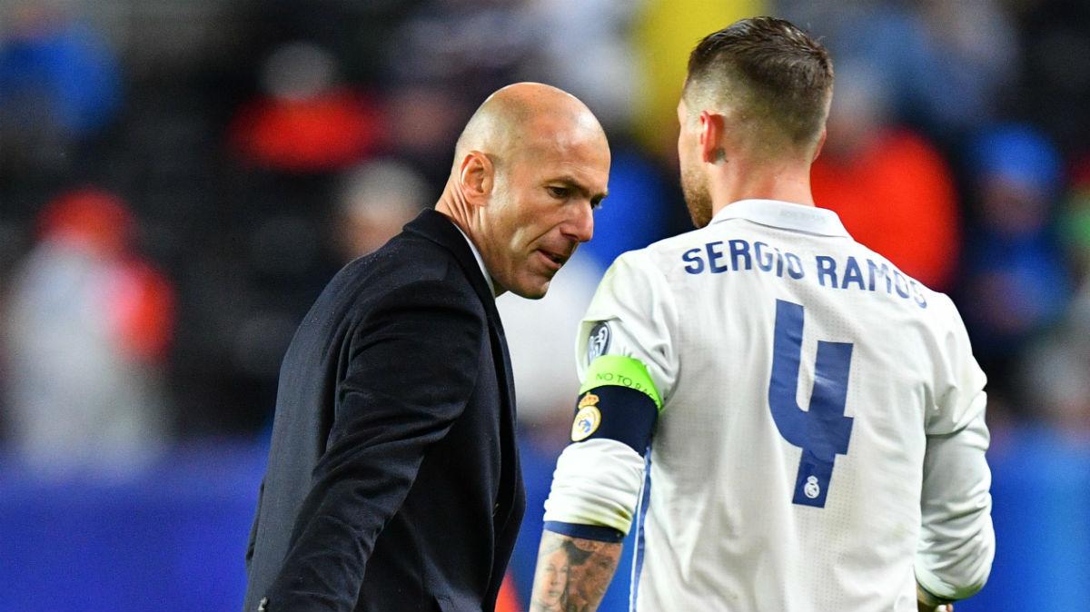 Zidane y Sergio Ramos. (Getty)