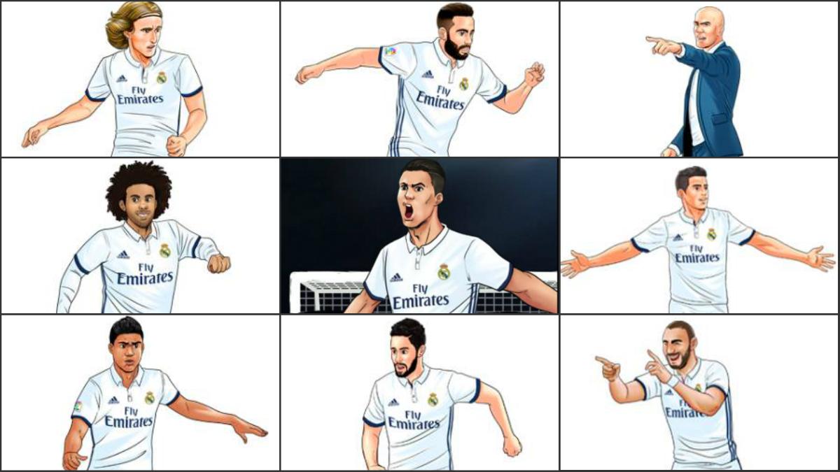 Los jugadores del Real Madrid en versión manga. (realmadrid.com)