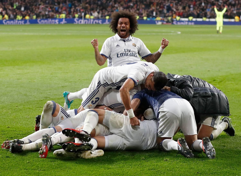 Marcelo celebra el gol de Sergio Ramos ante el Deportivo. (Realmadrid.com)