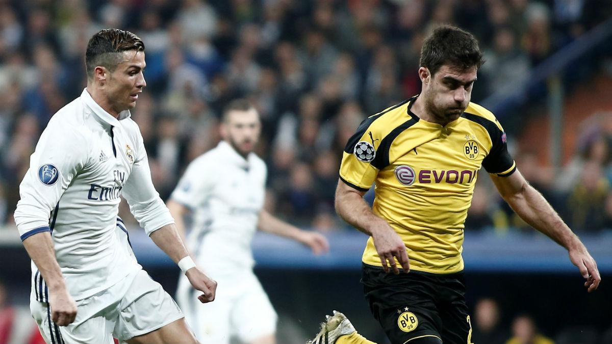 Sokratis, en un partido contra el Real Madrid. (Getty)