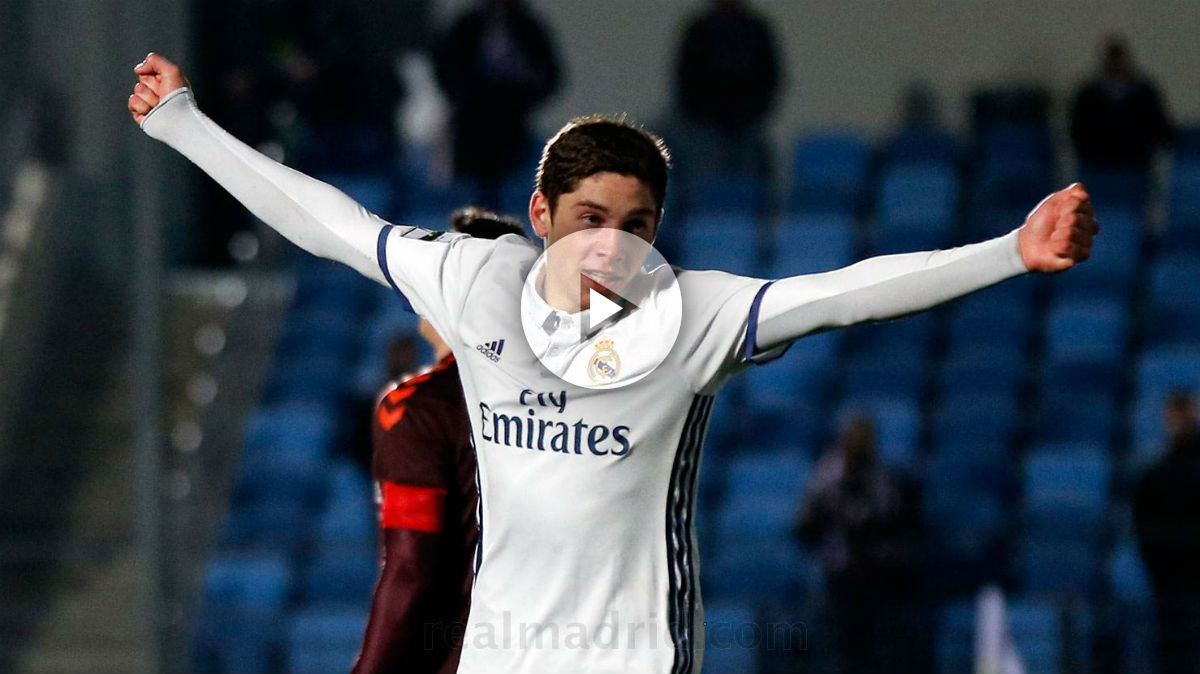 Federico Valverde celebra su gol con el Castilla. (Realmadrid.com)