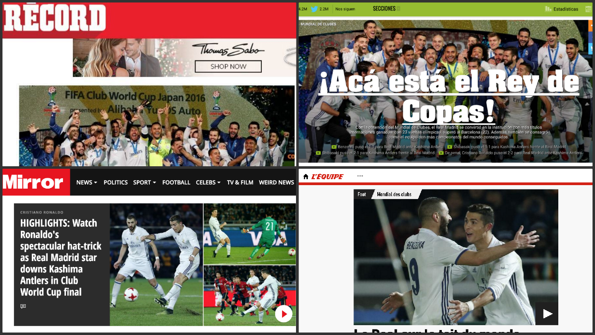 La prensa mundial se rinde al Real Madrid.