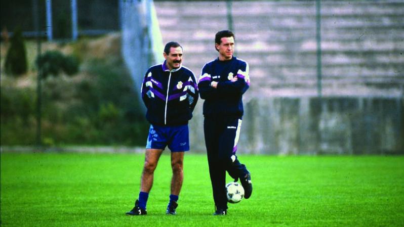 Ángel Cappa y Jorge Valdano, en la antigua Ciudad Deportiva del Real Madrid.