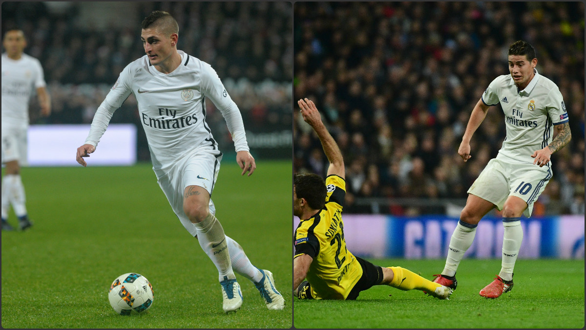 Verratti y James, durante sendos partidos del PSG y del Real Madrid.