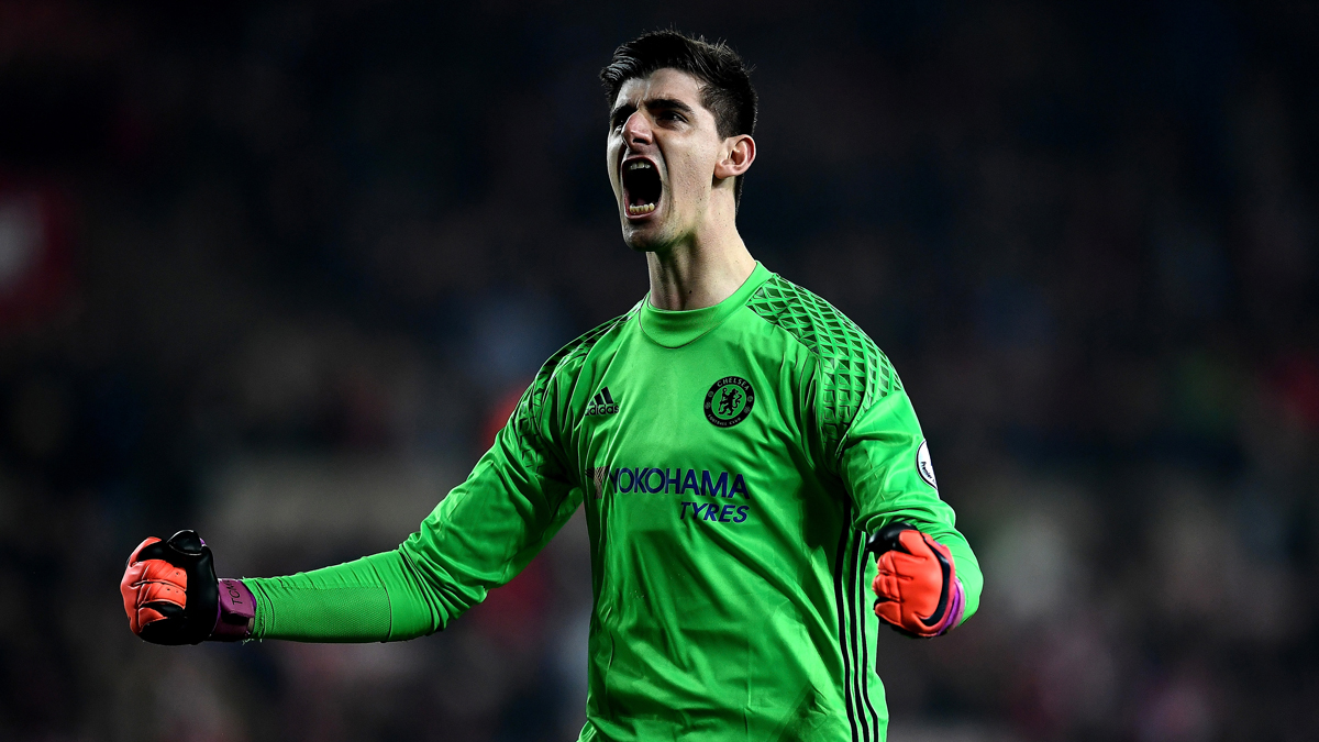 Courtois, celebrando una victoria del Chelsea.