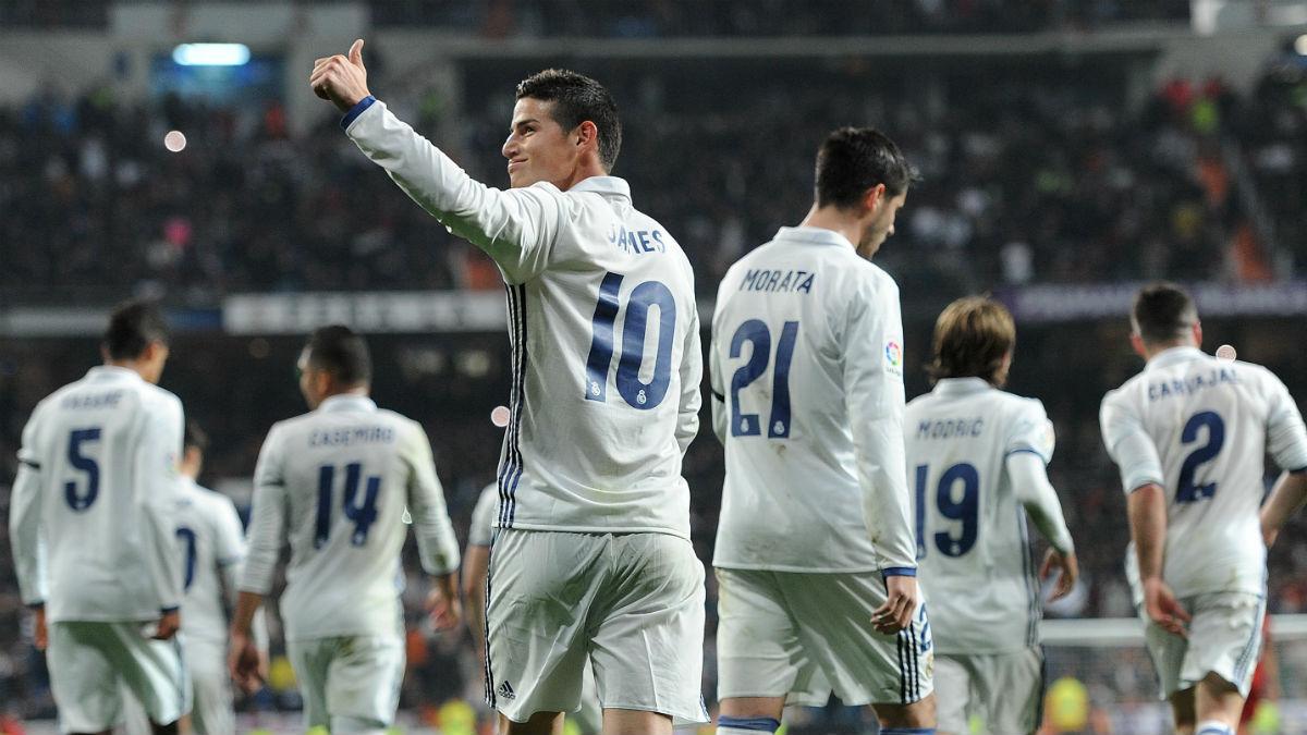 James celebra el 3-0 del Madrid. (Getty)