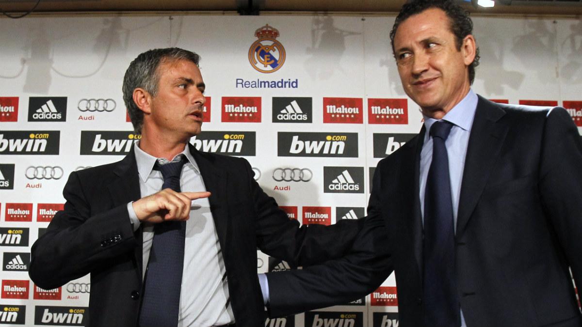 Jorge Valdano y Mourinho, en una rueda de prensa en su etapa en el Real Madrid.