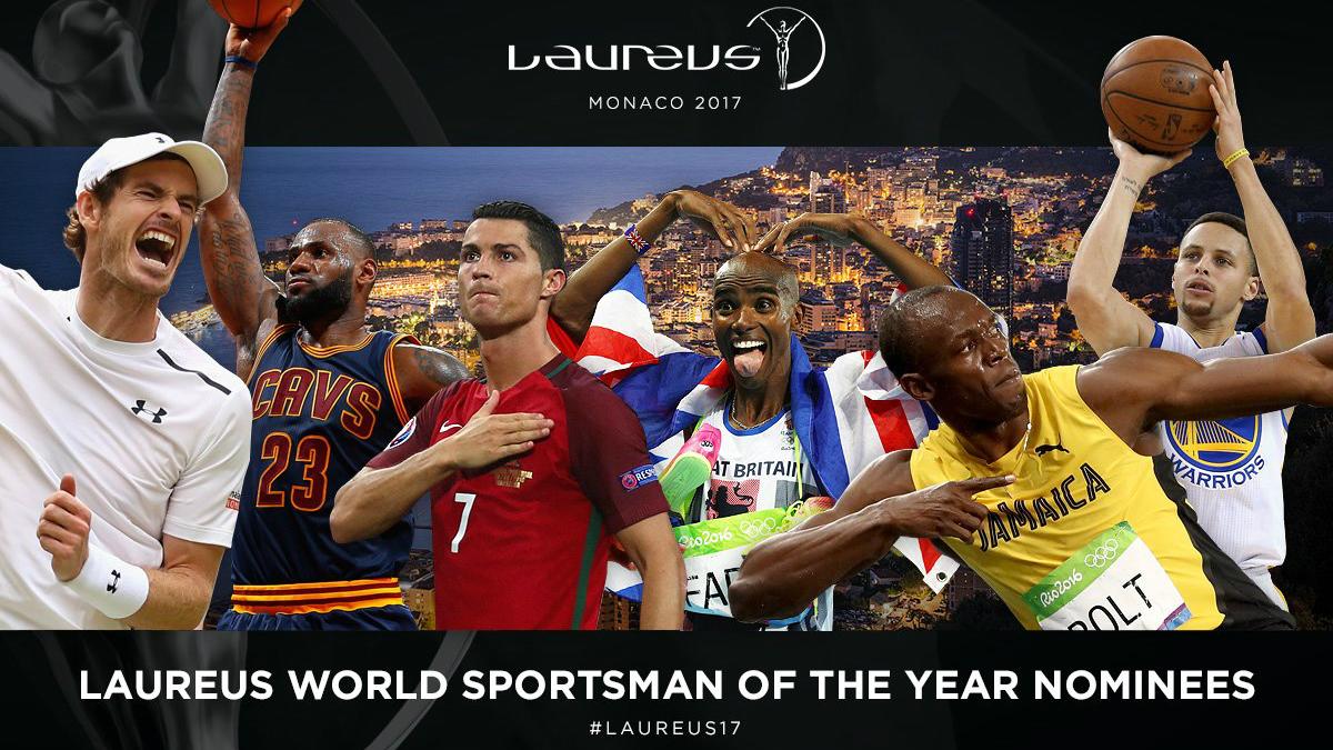 Cristiano Ronaldo, junto al resto de nominados a Mejor Deportista del Año en los Premios Laureus.
