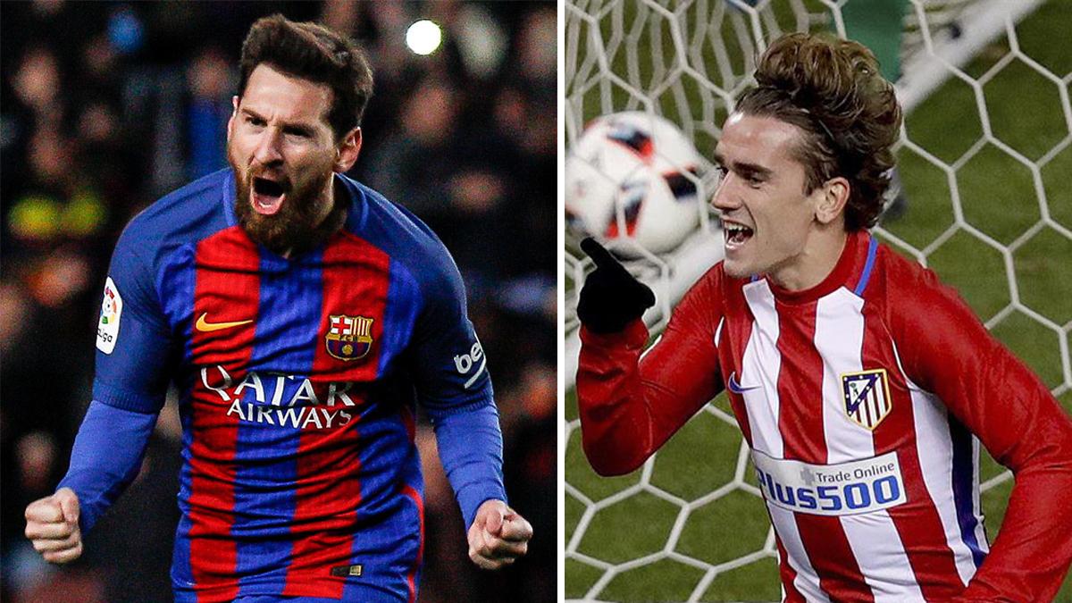 Messi y Griezmann, celebrando sus goles en octavos de final.